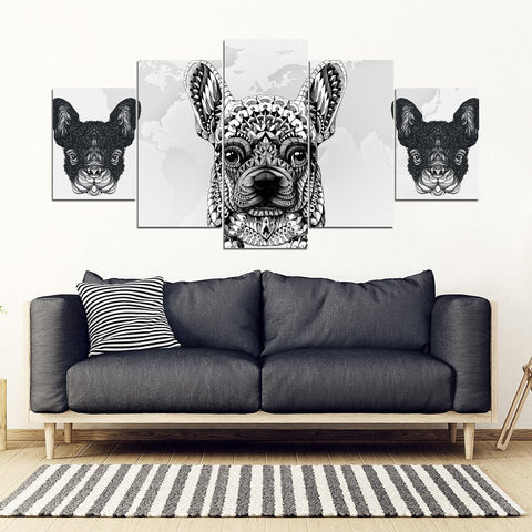 French Bulldog Print 5 Piece Framed Canvas- Free Shipping