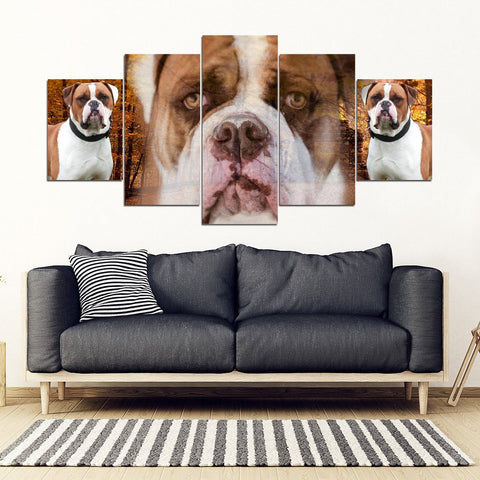 American Bulldog Print- 5 Piece Framed Canvas- Free Shipping