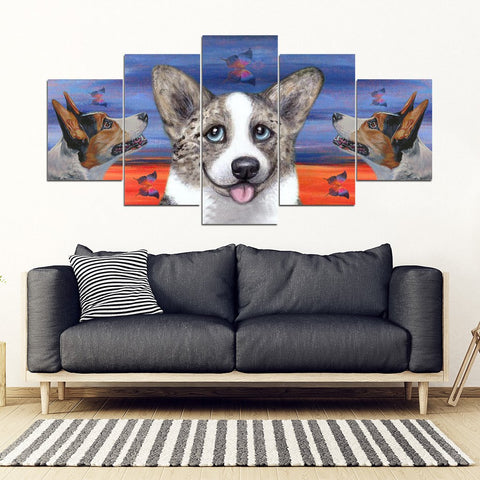 Cardigan Welsh Corgi Print-5 Piece Framed Canvas- Free Shipping