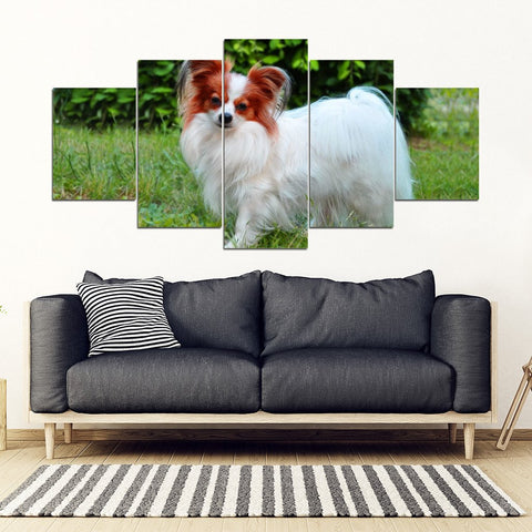 Papillon Dog Print New 5 Piece Framed Canvas- Free Shipping