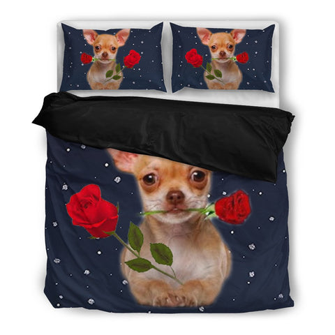 Valentine's Day Special-Chihuahua With Rose Print Bedding Set-Free Shipping