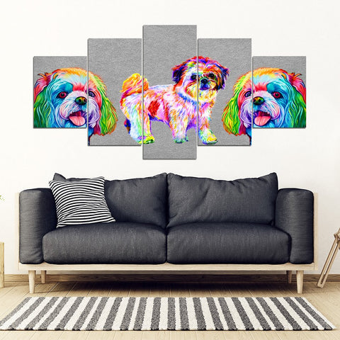 Colorful Shih Tzu 5 Piece Framed Canvas- Free Shipping
