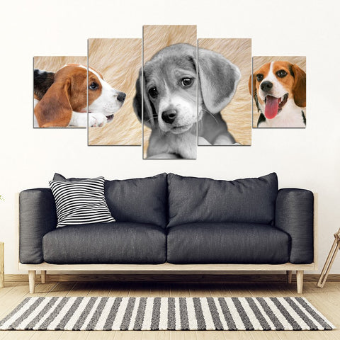 Beagle Dog Print- 5 Piece Framed Canvas- Free Shipping