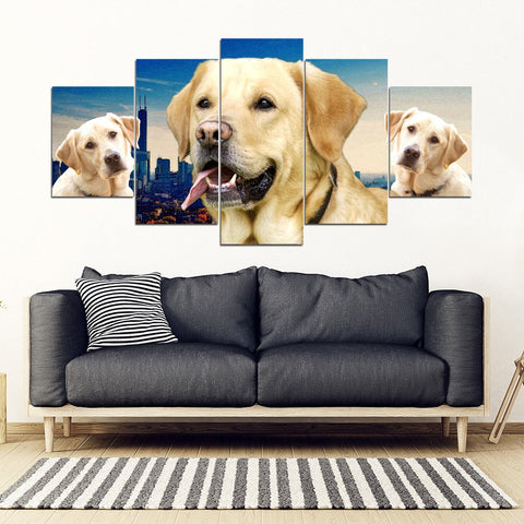 Labrador Retriever Print- Piece Framed Canvas- Free Shipping