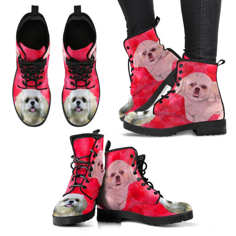 Valentine's Day Special-Shih Tzu On Red Print Boots For Women-Free Shipping