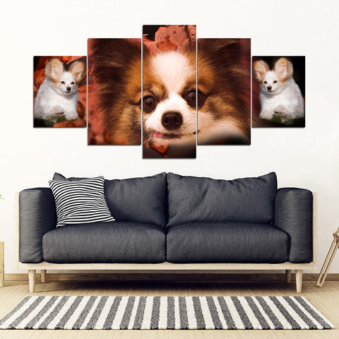 Papillon Dog Print- Piece Framed Canvas- Free Shipping