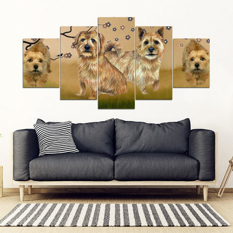 Norwich Terrier Print-5 Piece Framed Canvas- Free Shipping