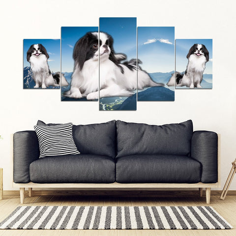 Japanese Chin Print- Piece Framed Canvas- Free Shipping