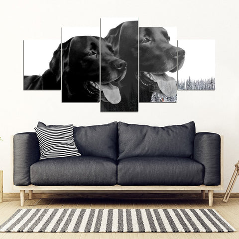 Black Labrador 5 Piece Framed Premium Canvas- Free Shipping