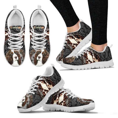 English Springer Spaniel On Black-Women's Running Shoes-Free Shipping