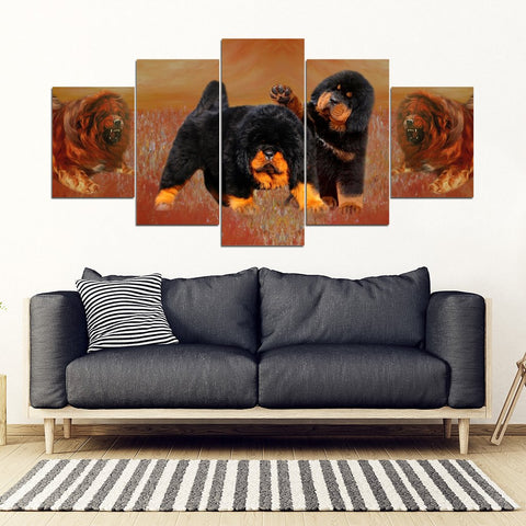 Tibetan Mastiff Print-5 Piece Framed Canvas- Free Shipping
