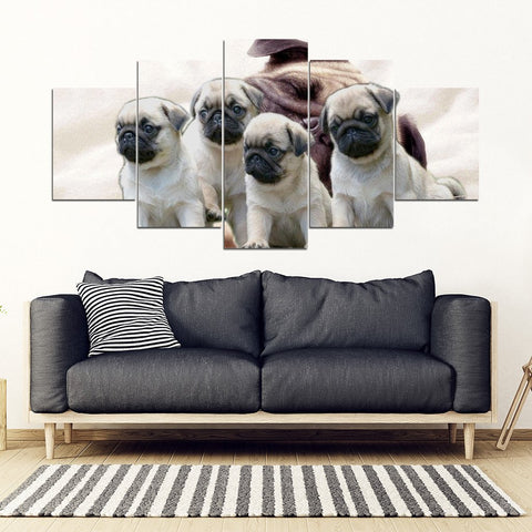 Cute Pug Puppies 5 Piece Framed Canvas- Free Shipping