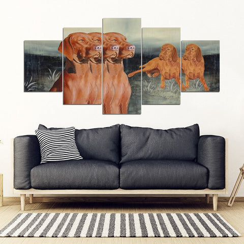 Vizsla Dog Print-5 Piece Framed Canvas- Free Shipping