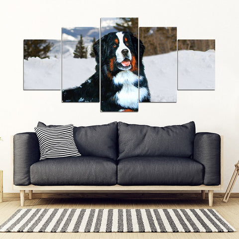 Bernese Mountain Dog Print 5 Piece Framed Canvas- Free Shipping