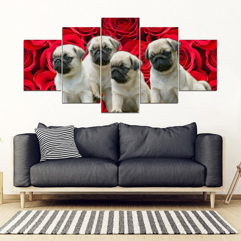 Cute Pug Puppies On Red Rose Print- 5 Piece Framed Canvas- Free Shipping
