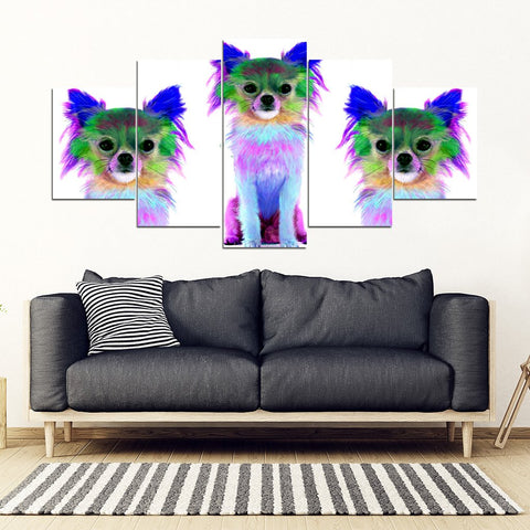 Colorful Chihuahua Dog Print 5 Piece Framed Canvas- Free Shipping