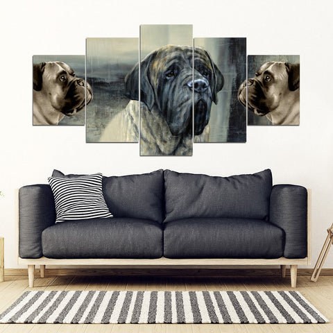 English Mastiff Dog Print-5 Piece Framed Canvas- Free Shipping
