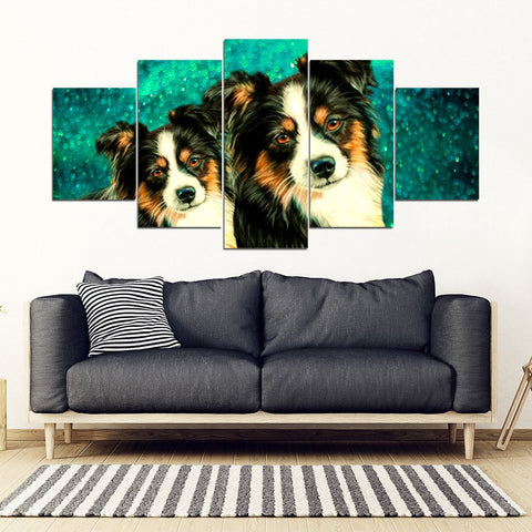 Australian Shepherd Print 5 Piece Framed Canvas- Free Shipping