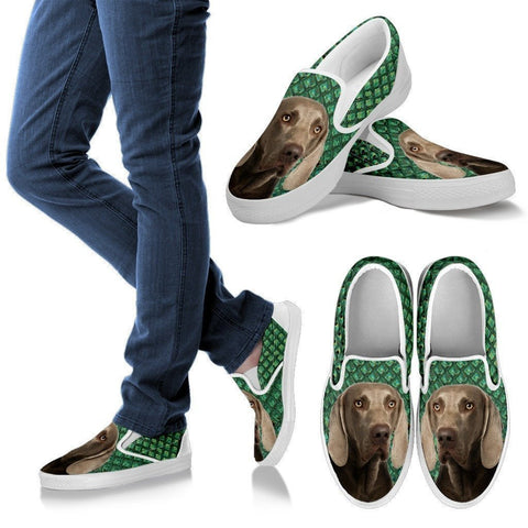 Weimaraner Dog Print Slip Ons For Women-Express Shipping