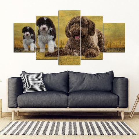 Spanish Water Dog Print-5 Piece Framed Canvas- Free Shipping