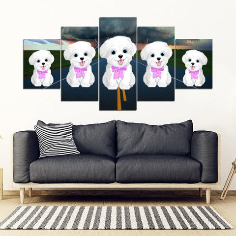 Maltese Print-5 Piece Framed Canvas- Free Shipping