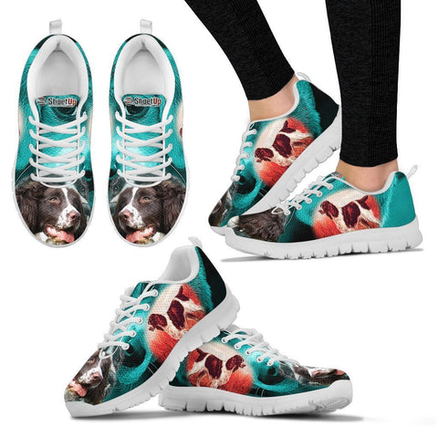English Springer Spaniel On Deep Skyblue Print Running Shoes For Women- Free Shipping