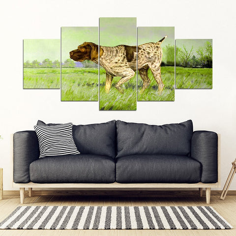 German Shorthaired Pointer Print 5 Piece Framed Canvas- Free Shipping