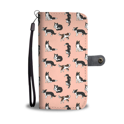 Border Collie Dog 2nd Pattern Print Wallet Case-Free Shipping