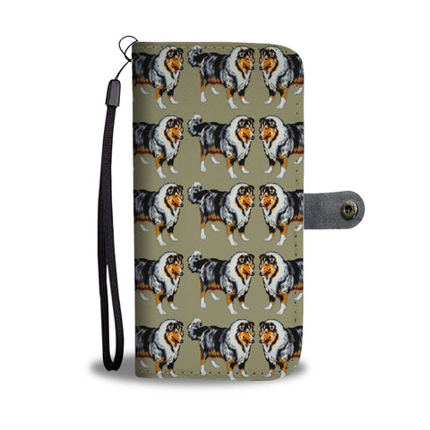 Rough Collie Dog 2nd Pattern Print Wallet Case-Free Shipping