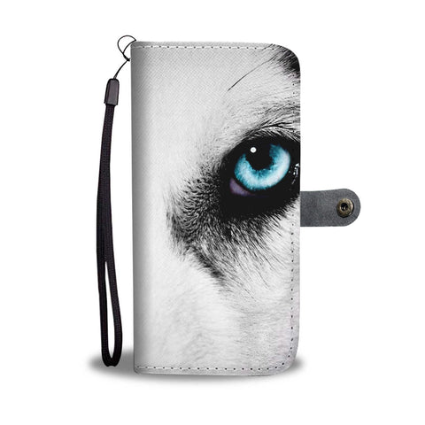 Amazing Siberian Husky Eye Print Wallet Case-Free Shipping