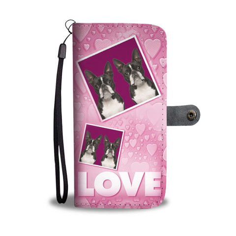Boston Terrier with Love Print Wallet Case-Free Shipping