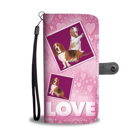 Basset Hound Dog with Love Print Wallet Case-Free Shipping