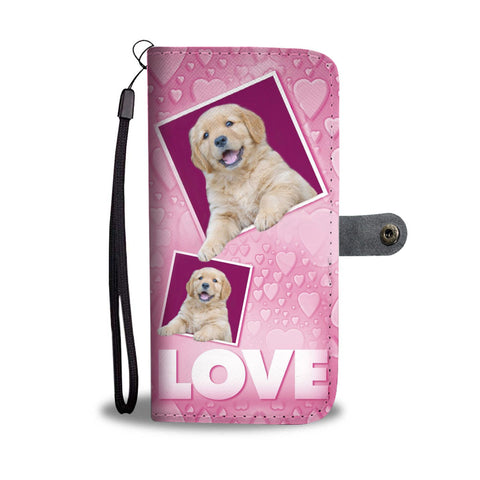 Cute Golden Retriever puppy with Love Print Wallet Case-Free Shipping