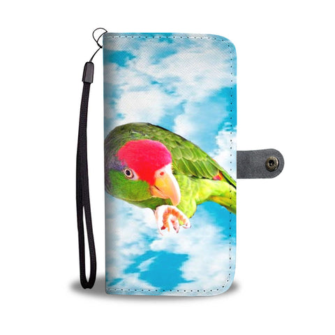 Amazon Red Headed Parrot Print Wallet Case-Free Shipping