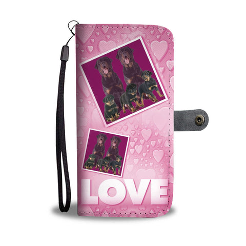 Rottweiler Dog with Love Print Wallet Case-Free Shipping