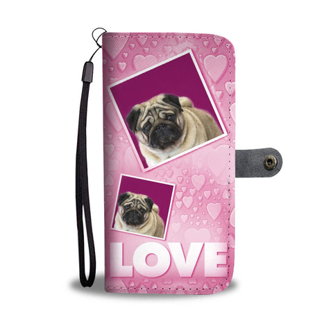 Pug Dog with Love Print Wallet Case-Free Shipping