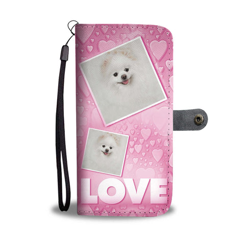 Pomeranian Dog with Love Print Wallet Case-Free Shipping