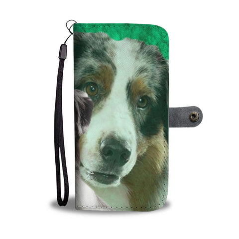 Lovely Australian Shepherd Dog Print Wallet Case-Free Shipping