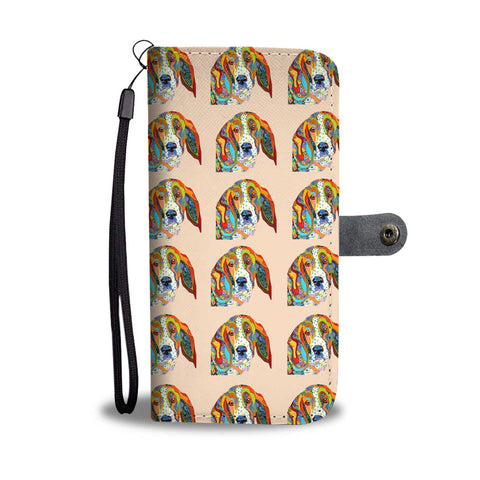 Basset Hound Dog Art Pattern Print Wallet Case-Free Shipping