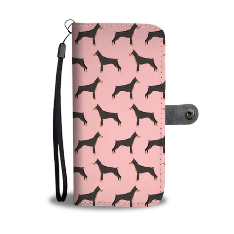 Doberman Pinscher On Pink Pattern Print Wallet Case-Free Shipping