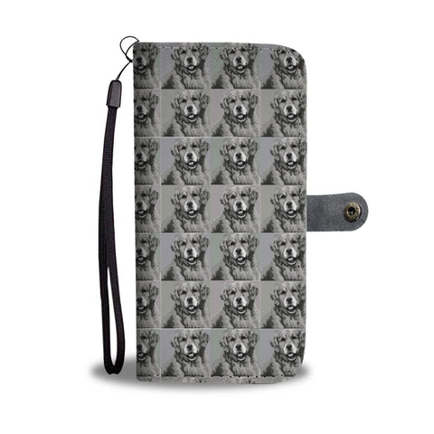 Golden Retriever Dog Black&White Pattern  Print Wallet Case-Free Shipping