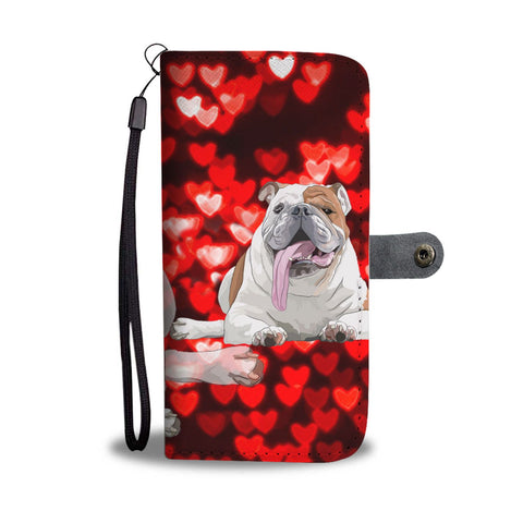 Bulldog On Red Hearts Print Wallet Case-Free Shipping