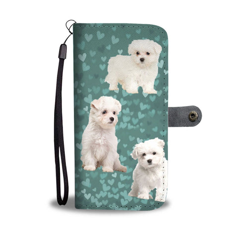 Maltese Dog On Hearts Print Wallet Case-Free Shipping
