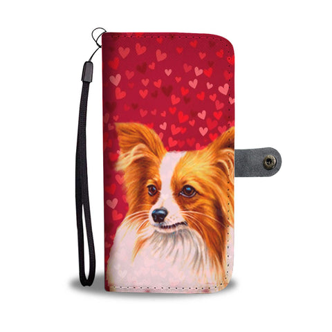 Papillon Dog On Red Hearts Print Wallet Case-Free Shipping