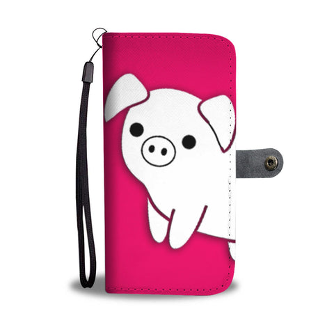 Cute Large White pig Print Wallet Case-Free Shipping