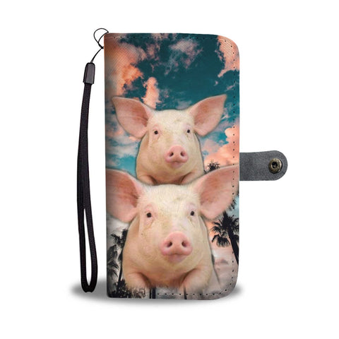 Large White Pig Print Wallet Case- Free Shipping