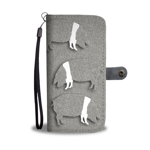 British Saddleback Pig Print Wallet Case-Free Shipping