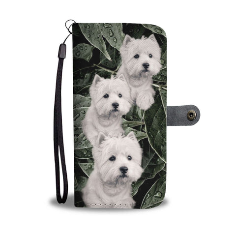 Cute Westie On Green Leaves Print Wallet Case- Free Shipping