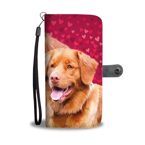 Nova Scotia Duck Tolling Retriever Dog On Hearts Print Wallet Case-Free Shipping