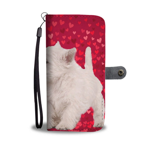 West Highland White Terrier Dog On Red Print Wallet Case-Free Shipping